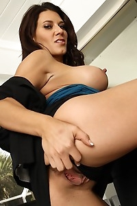Busty MILF Leena Sky gets butt naked on her office desk.