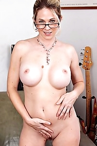 Sexy MILF Angela Attison strips naked after work.